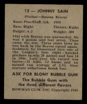 1948 Bowman #12  Johnny Sain  Back Thumbnail