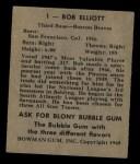 1948 Bowman #1   Bob Elliott Back Thumbnail