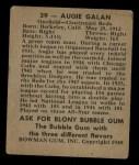 1948 Bowman #39   Augie Galan Back Thumbnail