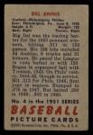 1951 Bowman #4  Del Ennis  Back Thumbnail