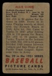 1951 Bowman #29  Allie Clark  Back Thumbnail