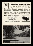 1951 Topps #74   Lawrence Hairston Back Thumbnail