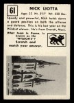 1951 Topps #61   Nick Liotta Back Thumbnail