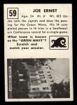 1951 Topps #59   Joe Ernst Back Thumbnail