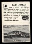 1951 Topps #41   Zack Jordan Back Thumbnail