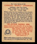 1949 Bowman #2   Whitey Lockman Back Thumbnail