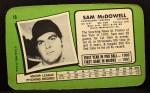 1971 Topps Super #16   Sam McDowell Back Thumbnail