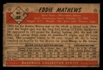 1953 Bowman #97  Eddie Mathews  Back Thumbnail