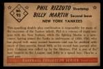 1953 Bowman #93  Billy Martin / Phil Rizzuto  Back Thumbnail