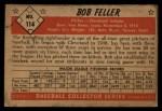 1953 Bowman #114   Bob Feller Back Thumbnail