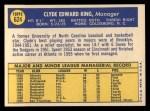 1970 Topps #624   Clyde King Back Thumbnail