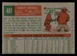 1959 Topps #481  Charley Maxwell  Back Thumbnail