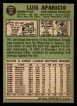 1967 Topps #60   Luis Aparicio Back Thumbnail