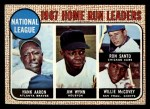 1968 Topps #5  1967 NL HR Leaders  -  Hank Aaron / Willie McCovey / Ron Santo / Jim Wynn Front Thumbnail