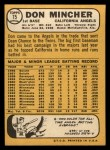 1968 Topps #75   Don Mincher Back Thumbnail