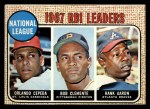 1968 Topps #3  NL RBI Leaders  -  Hank Aaron / Orlando Cepeda / Roberto Clemente Front Thumbnail