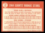 1964 Topps #47   Giants Rookie Stars  -  Jesus Alou / Ron Herbel Back Thumbnail
