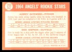 1964 Topps #127   Angels Rookie Stars  -  Dick Simpson / Aubrey Gatewood Back Thumbnail