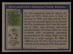 1972 Topps #310   Rich Jackson Back Thumbnail