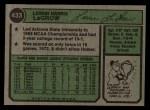 1974 Topps #433   Lerrin LaGrow Back Thumbnail