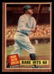 1962 Topps #139 DRT Babe Hits 60  -  Babe Ruth  Front Thumbnail