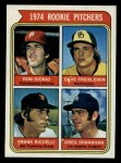 1974 Topps #599 WASH Rookie Pitchers    -  Dave Freisleben / Ron Diorio / Frank Riccelli / Greg Shanahan Front Thumbnail