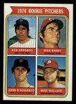 1974 Topps #608 ^ERR^  -  Dick Baney / John D'Acquisto / Mike Wallace / Bob Apodaca Rookie Pitchers   Front Thumbnail