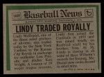 1974 Topps Traded #182 T  Lindy McDaniel Back Thumbnail