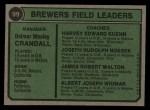 1974 Topps #99  Brewers Field Leaders  -  Del Crandall / Harvey Kuenn / Joe Nossek / Jim Walton / Al Widmar Back Thumbnail