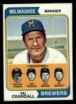 1974 Topps #99  Brewers Field Leaders  -  Del Crandall / Harvey Kuenn / Joe Nossek / Jim Walton / Al Widmar Front Thumbnail