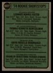 1974 Topps #607   Rookie Shortstops    -  Leo Foster / Tom Heintzelman / Dave Rosello / Frank Taveras Back Thumbnail