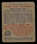 1949 Bowman #146   Mike McCormick Back Thumbnail