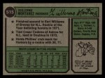 1974 Topps #515   Willie Montanez Back Thumbnail