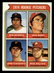 1974 Topps #608 COR Rookie Pitchers    -  Dick Baney / John D'Acquisto / Mike Wallace / Bob Apodaca Front Thumbnail