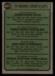 1974 Topps #607   -  Leo Foster / Tom Heintzelman / Dave Rosello / Frank Taveras Rookie Shortstops   Back Thumbnail