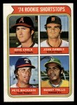 1974 Topps #597   Rookie Shortstops  -  Dave Chalk / John Gamble / Pete Mackanin / Manny Trillo Front Thumbnail