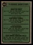 1974 Topps #597   Rookie Shortstops  -  Dave Chalk / John Gamble / Pete Mackanin / Manny Trillo Back Thumbnail