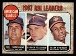 1968 Topps #4  AL RBI Leaders  -  Harmon Killebrew / Frank Robinson / Carl Yastrzemski Front Thumbnail
