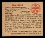 1950 Bowman #52  Sam Mele  Back Thumbnail