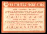1964 Topps #388   Athletics Rookie Stars  -  George Williams / John O'Donghue Back Thumbnail