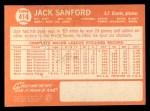 1964 Topps #414   Jack Sanford Back Thumbnail