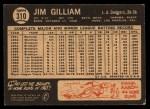 1964 Topps Venezuelan #310  Jim Gilliam  Back Thumbnail