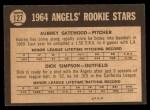1964 Topps Venezuelan #127   Angels Rookies  -  Dick Simpson / Aubrey Gatewood Back Thumbnail