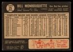 1964 Topps Venezuelan #25   Bill Monbouquette Back Thumbnail