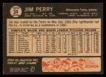 1964 Topps Venezuelan #34   Jim Perry Back Thumbnail