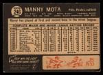 1964 Topps Venezuelan #246   Manny Mota Back Thumbnail