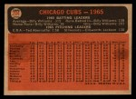 1966 Topps Venezuelan #204   Cubs Team Back Thumbnail