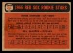 1966 Topps Venezuelan #356  Red Sox Rookies  -  Ken Sanders / Owen Johnson Back Thumbnail