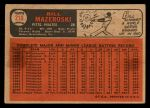 1966 Topps Venezuelan #210   Bill Mazeroski Back Thumbnail