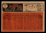 1966 #293  Mike Shannon  Back Thumbnail